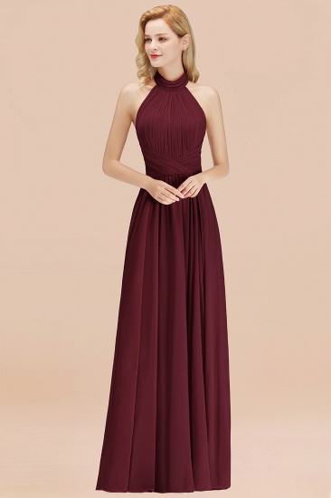 Gorgeous High-Neck Halter Backless Bridesmaid Dress Dusty Rose Chiffon Maid of Honor Dress_10