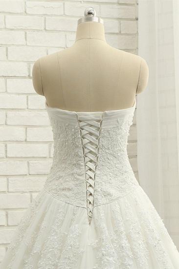 BMbridal Gorgeous Bateau White Tulle Wedding Dresses A line Ruffles Lace Bridal Gowns With Appliques Online_6