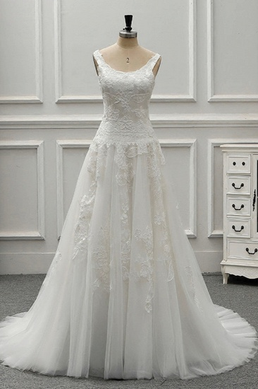 BMbridal Chic Straps Jewel Tulle Lace Wedding Dress Sleeveless Appliques White Bridal Gowns On Sale_1
