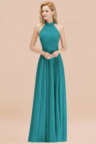 Gorgeous High-Neck Halter Backless Bridesmaid Dress Dusty Rose Chiffon Maid of Honor Dress_32