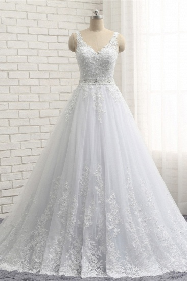 Stunning Straps V-Neck Tulle Appliques Wedding Dress Lace Sleeveless Bridal Gowns with Beadings Online_1