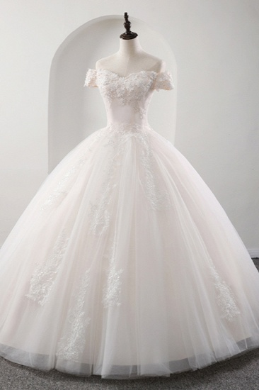 BMbridal Gorgeous Off-the-shoulder Pink A-line Wedding Dresses Tulle Ruffles Bridal Gowns With Appliques Online_1
