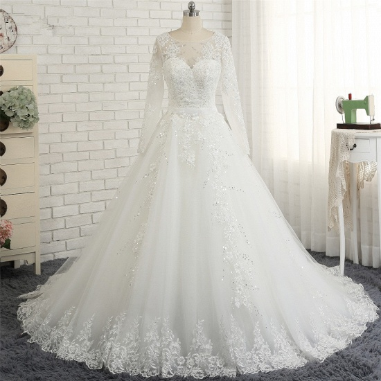 Modest Jewel Longsleeves White Wedding Dresses A-line Tulle Ruffles Bridal Gowns On Sale_7