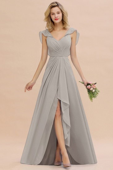 Modest Hi-Lo V-Neck Ruffle Long Bridesmaid Dress with Slit_30