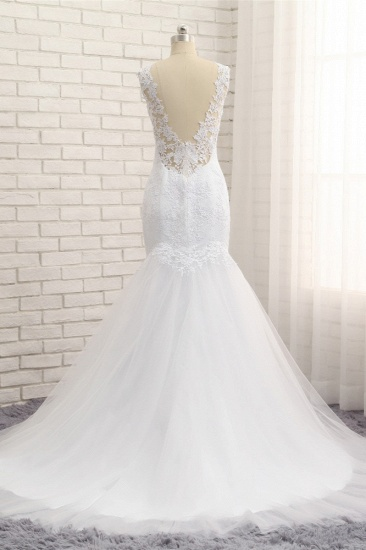 Stunning Jewel White Tulle Lace Wedding Dress Appliques Sleeveless Bridal Gowns On Sale_3