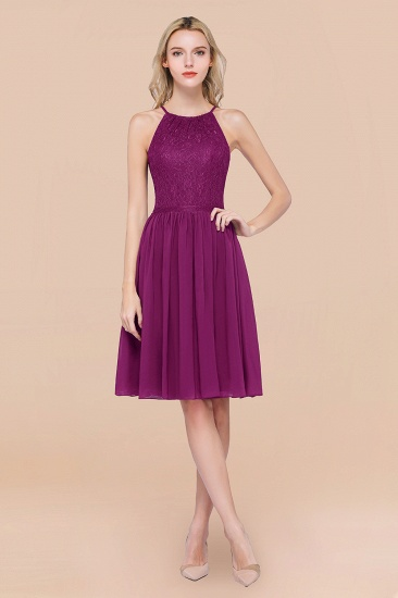 Lovely Burgundy Lace Short Bridesmaid Dress With Spaghetti-Straps_42