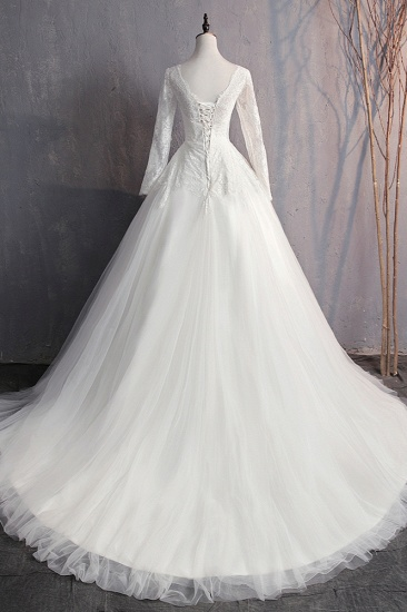 BMbridal Glamorous Jewel White Tulle Lace Wedding Dress Long Sleeves Appliques Bridal Gowns On Sale_3