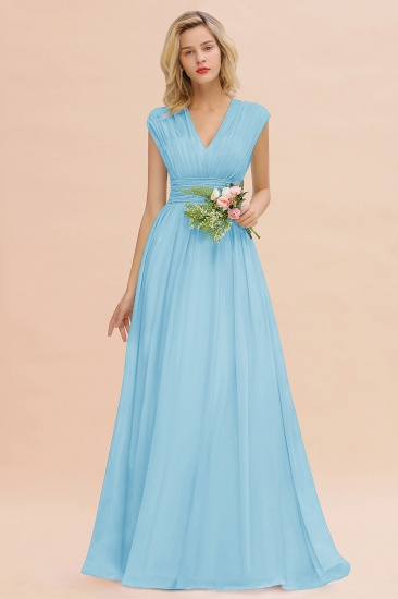 Elegant Chiffon V-Neck Ruffle Long Bridesmaid Dresses Affordable_23