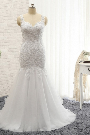 BMbridal Glamorous Strapless Sweetheart Lace Mermaid Wedding Dress White Tulle Appliques Bridal Gowns Online_1