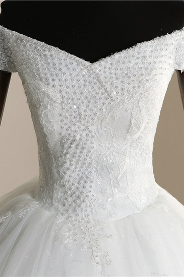 Affordable Off-the Shoulder Sweetheart Tulle Wedding Dress Appliques Sleeveless Bridal Gowns with Pearls_7