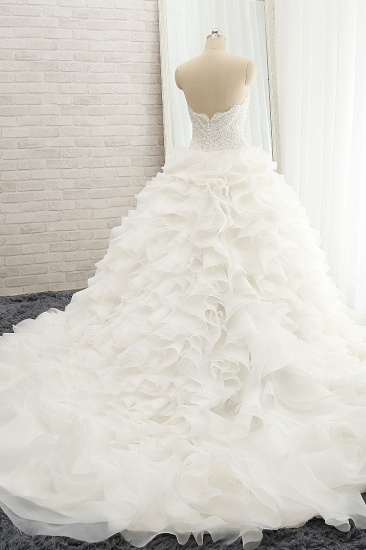 BMbridal Chic Sweatheart White A line Wedding Dresses Sleeveless Tulle Bridal Gowns Online_3