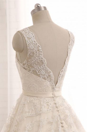 Chic Champagne Jewel Sleeveless Wedding Dresses A-line Lace Bridal Gowns With Appliques On Sale_6