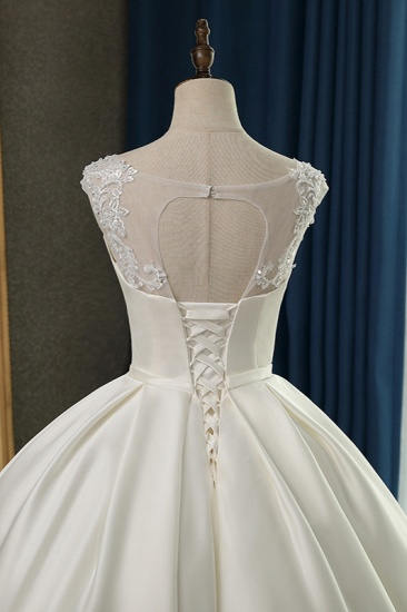 BMbridal Chic Satin Ball Gown Jewel Wedding Dress Sleeveless Appliques Ruffles Bridal Gowns On Sale_7
