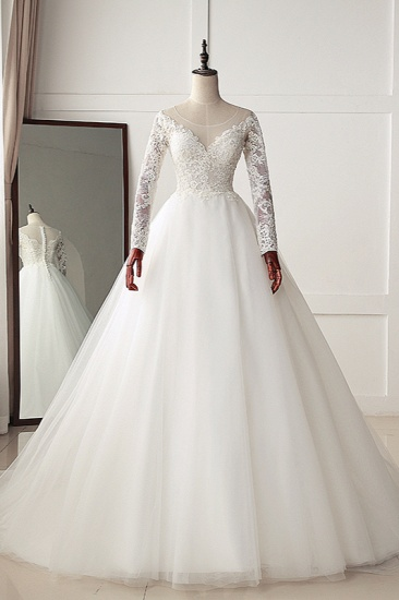 BMbridal Elegant Jewel Tulle Lace White Wedding Dress A-Line Long Sleeves Appliques Bridal Gowns On Sale_1