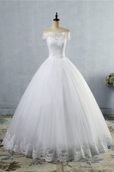 Affordable Off-the-Shoulder Lace Tulle Wedding Dress Short Sleeves White Bridal Gowns On Sale
