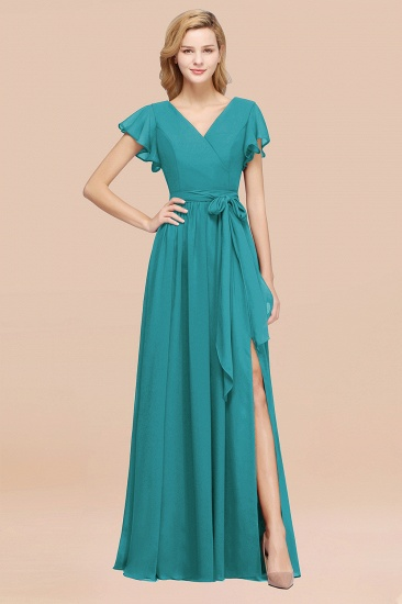 BMbridal Burgundy V-Neck Long Bridesmaid Dress With Short-Sleeves_32