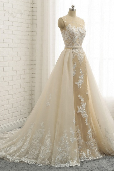 Glamorous Jewel Tulle Champagne Wedding Dress Appliques Sleeveless Overskirt Bridal Gowns with Beading Sash Online_4