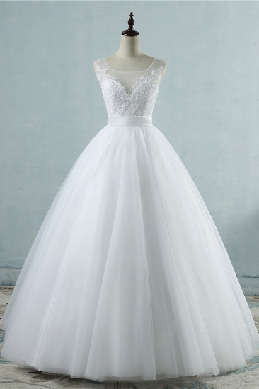 Chic Square Neckling Sleeveless Wedding Dresses White Tulle Lace Bridal Gowns On Sale