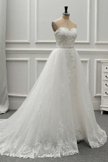 BMbridal Stylish Strapless Sweetheart Tulle White Wedding Dress Appliqes Sleeveless A-Line Bridal Gowns On Sale_4