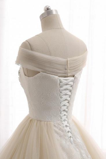 BMbridal Unique Champagne Bateau Lace Wedding Dresses With Appliques Tulle Ruffles Bridal Gowns Online_6