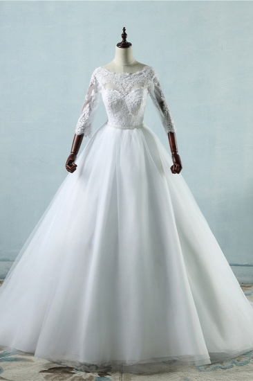 Elegant Jewel Tulle Lace Wedding Dress 3/4 Sleeves Appliques A-Line Bridal Gowns On Sale