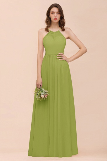 BMbridal Gorgeous Chiffon Halter Ruffle Affordable Long Bridesmaid Dress_34