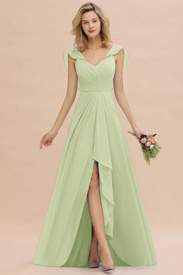 Modest Hi-Lo V-Neck Ruffle Long Bridesmaid Dress with Slit_35
