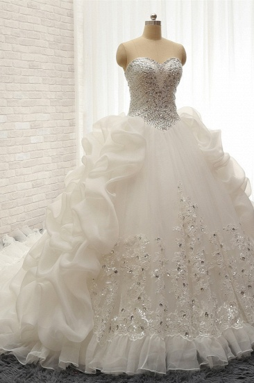 Glamorous Sweetheart White Sequins Wedding Dresses With Appliques Tulle Ruffles Bridal Gowns Online_4