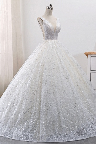 BMbridal Gorgeous Tulle V-Neck Ball Gown Wedding Dress Sparkly Sequined Sleeveless Bridal Gowns On Sale_4