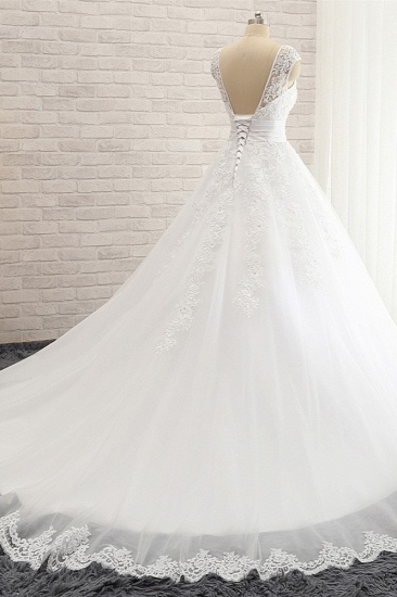 Affordable V-Neck Tulle Lace Wedding Dress A-Line Sleeveless Appliques Bridal Gowns with Beadings Online_3