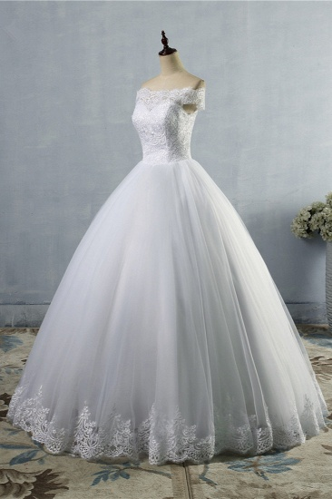 BMbridal Affordable Off-the-Shoulder Lace Tulle Wedding Dress Short Sleeves White Bridal Gowns On Sale_4