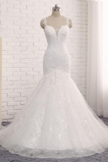 Elegant Straps V-Neck Tulle Lace Mermaid Wedding Dress Appliques Sleeveless Bridal Gowns On Sale_1