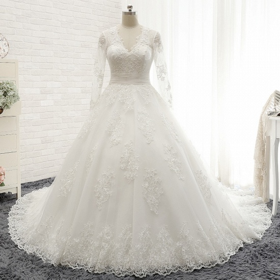Modest Longsleeves V-neck Lace Wedding Dresses White Tulle A-line Bridal Gowns With Appliques Online_6