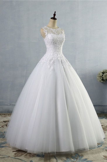 BMbridal Ball Gown Jewel Tulle Lace Wedding Dress White Appliques Sleeveless Bridal Gowns On Sale_4