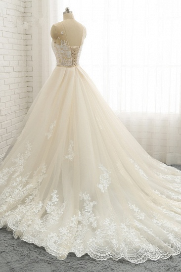 Glamorous Jewel Tulle Champagne Wedding Dress Appliques Sleeveless Overskirt Bridal Gowns with Beading Sash Online_5