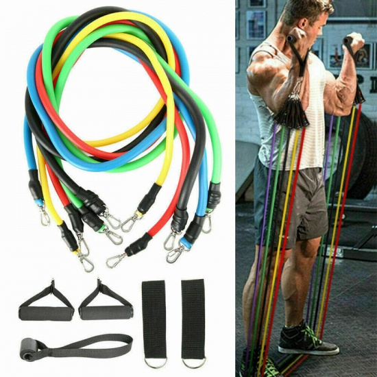 Hot Selling Pull Rope Fitness Exercises Resistance Bands Latex Tubes Pedal Excerciser (11pcs/set )