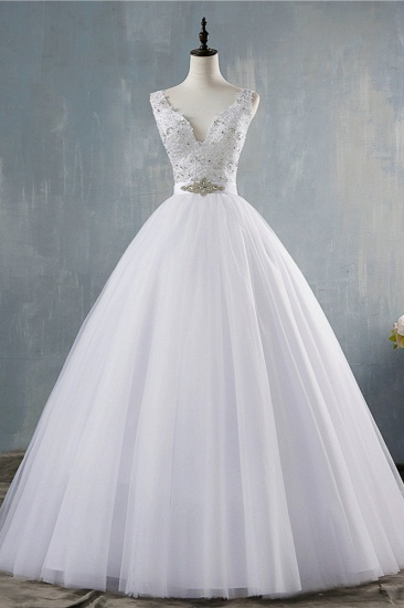Chic Starps V-Neck Beadings Tulle Wedding Dress Sleeveless Appliques Bridal Gowns with Rhinestones
