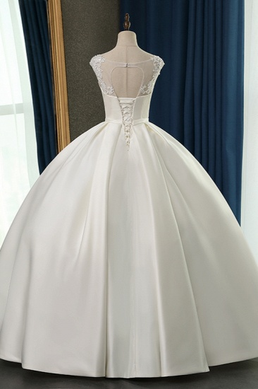 BMbridal Chic Satin Ball Gown Jewel Wedding Dress Sleeveless Appliques Ruffles Bridal Gowns On Sale_3