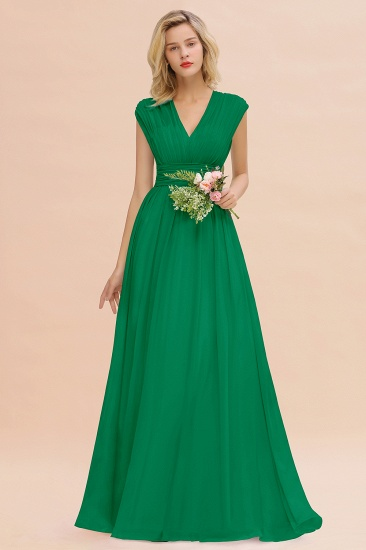 Elegant Chiffon V-Neck Ruffle Long Bridesmaid Dresses Affordable_49