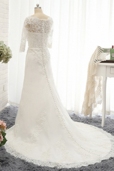 Affordable Jewel White Tulle Lace Wedding Dress Half Sleeves Appliques Bridal Gowns Online_2