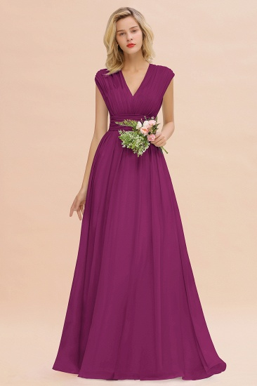 Elegant Chiffon V-Neck Ruffle Long Bridesmaid Dresses Affordable_42
