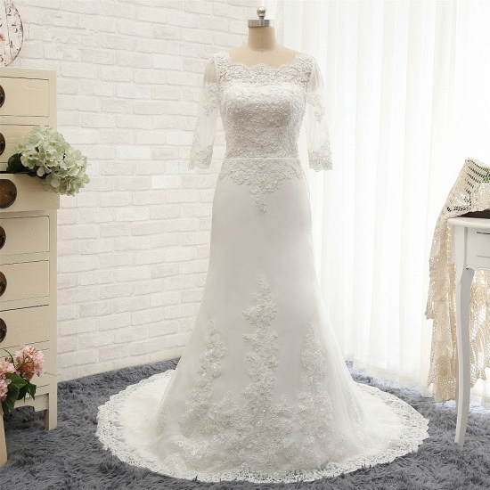 Affordable Jewel White Tulle Lace Wedding Dress Half Sleeves Appliques Bridal Gowns Online_5