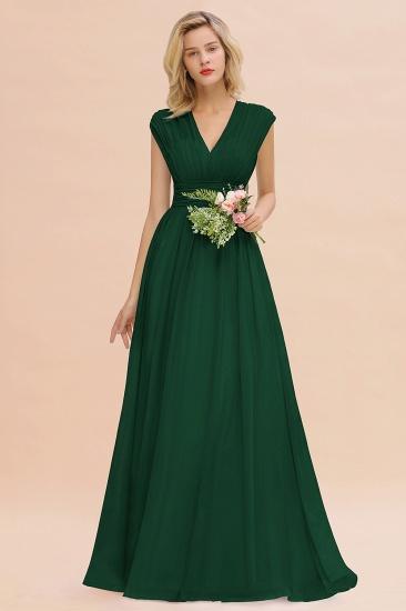 Elegant Chiffon V-Neck Ruffle Long Bridesmaid Dresses Affordable_31