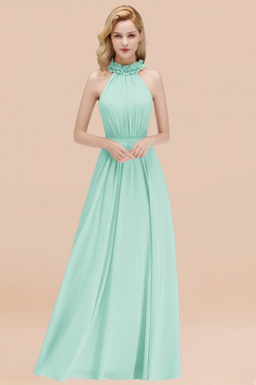 Modest High-Neck Halter Ruffle Chiffon Bridesmaid Dresses Affordable_36