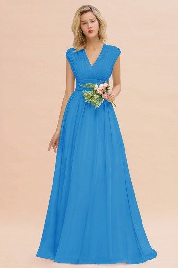 Elegant Chiffon V-Neck Ruffle Long Bridesmaid Dresses Affordable_25