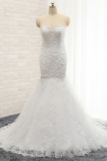 Affordable Strapless Tulle Lace Wedding Dress Sleeveless Sweetheart Bridal Gowns with Appliques On Sale_1