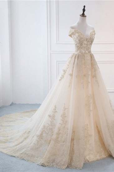 Gorgeous V-Neck Sleeveless Tulle Wedding Dress Champagne Appliques Bridal Gowns Online_4