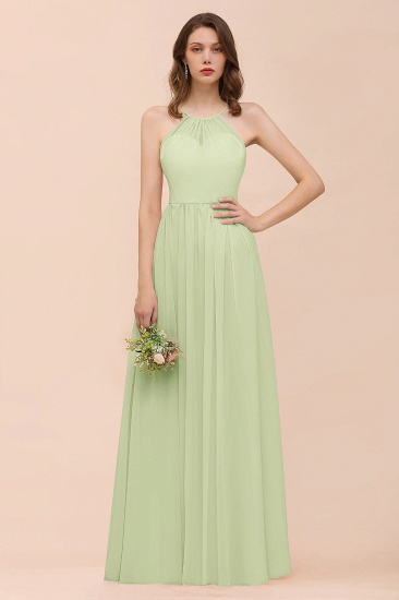 BMbridal Gorgeous Chiffon Halter Ruffle Affordable Long Bridesmaid Dress_35