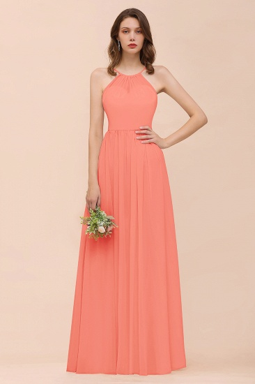 BMbridal Gorgeous Chiffon Halter Ruffle Affordable Long Bridesmaid Dress_45