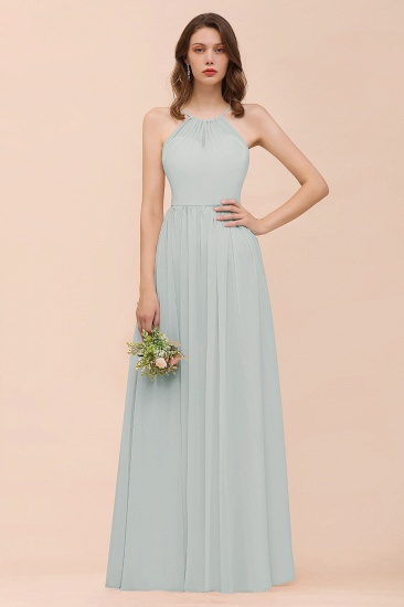 BMbridal Gorgeous Chiffon Halter Ruffle Affordable Long Bridesmaid Dress_38